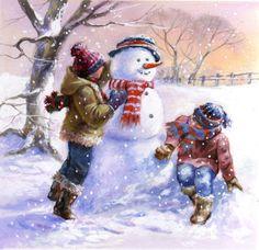 Jim Mitchell - card 58 a darker. Christmas Card Crafts, Christmas Drawing, Christmas Paintings, Christmas Art, Winter Christmas, Vintage Christmas, Winter Images, Winter Pictures, Christmas Pictures