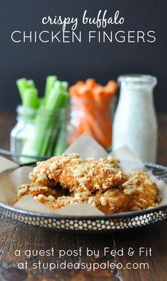Crispy Buffalo Chicken Fingers! | stupideasypaleo.com #paleo #realfood #healthy
