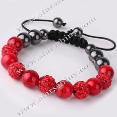 Shamballa Bracelet, 10mm round red clay rhinestone & coral beads, adjustable        Item No.:SN014732      Shop price: US$5.94 - US$6.99