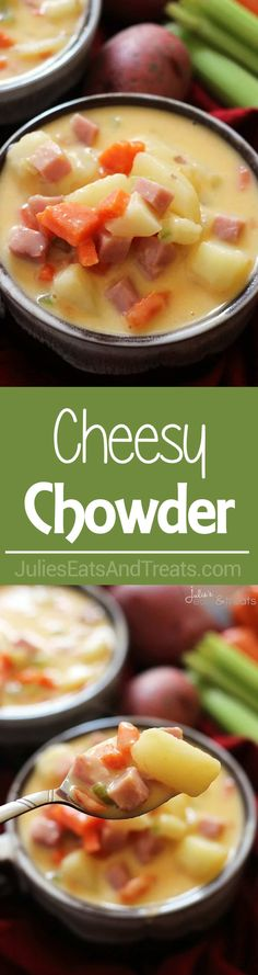 Cheesy Chowder ~ Incredibly Easy Cheesy Chowder Loaded with Carrots, Potatoes, Celery and Ham! via @julieseats