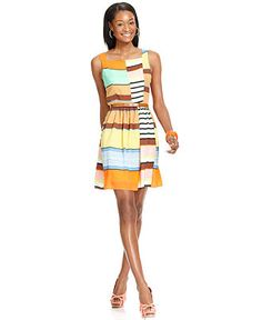 Jessica Simpson Dress, Sleeveless Belted Printed - Dresses - Women - Macy's