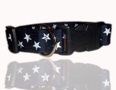 Navy Blue And White Super Star Dog Collar £10