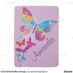 Colorful Butterflies Design Baby Blanket