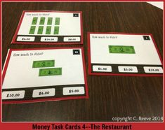 Part of my series of task cards...these are multiple choice bill task cards. Students can use answer sheet or dry erase markers. $3 http://www.teacherspayteachers.com/Product/Money-Task-Cards-4-The-Restaurant-Bills-only-Autism-Special-Ed-855084 #money