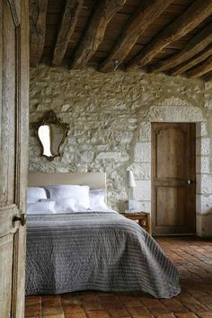 20 Awesome Modern French Country Farmhouse Master Bedroom Design Page 2 of 27 Modern French Country, French Country Farmhouse, Farmhouse Master Bedroom, Master Bedroom Design, Style At Home, Stone Houses, New Homes, House Design, Interior Design
