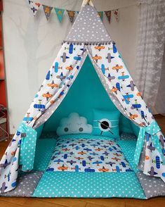 Wigwam with airplanes ✈ for Vanya. One of the most favorite color combinations is the turquoi Baby Bedroom, Baby Room Decor, Kids Bedroom, Nursery Decor, Diy Teepee, Teepee Tent, Kids Tents, Teepee Kids, Cool Kids Rooms