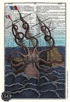 Vintage Octopus Giant Octopus Dictionary Art by VintagePrint54, $8.50