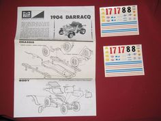 MPC 1904 Darracq Plastic Model Instructions and Two sets of Decals Hobby Kits, Plastic Models, Decals, Toys, Ebay, Vintage, Activity Toys, Tags, Sticker