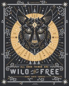 Wild & Free Wolf – Gold & Grey Art Print by Cat Coquillette | Society6
