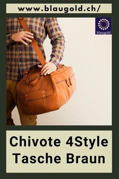 Mit Schulterriemen und Tragegriffen. #handbagset #handbagstyle #handbagsale #womanbag #manbag #2Gesichternbag Weekender, Leather Bags, Fashion Bags, Shoulder Strap, Brown, Tan Bag, Italian Leather, Duffle Bags, Leather Bag