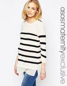 Image 1 of ASOS Maternity Breton Stripe Sweater with Button Trim