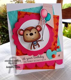 Card by Susan Liles. Reverse Confetti stamp set: Monkey Business. Confetti Cuts: Monkey Business and Circles 'n Scallops. Birthday card.