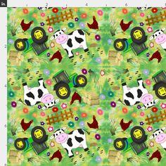 1 yard or 1 fat quarter of  5 Farmyard Cow by karwilbedesigns
