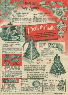 christmas Ad from Radio Shack Stores. Old Time Christmas, 1950s Christmas, Vintage Christmas Images, Old Fashioned Christmas, Vintage Holiday, Christmas Pictures, Christmas Holidays, Christmas Crafts, Christmas Decorations