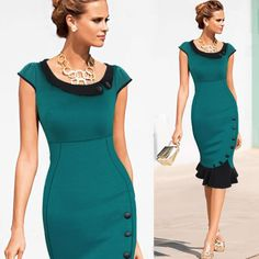 New 2015 Womens Celebrity Elegant Vintage Formal Lace Button Tunic Wear To Work Evening Party Mermaid Midi Pencil Wiggle Dress-in Dresses from Apparel & Accessories on Aliexpress.com | Alibaba Group