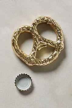 Cute bottle opener in the shape of pretzel, nice idea. Gilded Pretzel Bottle Opener #anthrofave #anthropologie #bottle #opener #beer