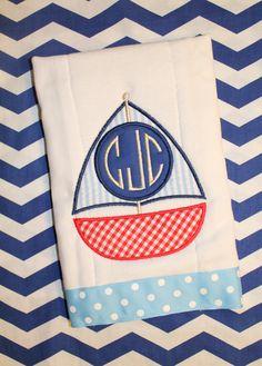 Seersucker Sailboat Burp Cloth  by SweetandSimpleStitch on Etsy, $11.50
