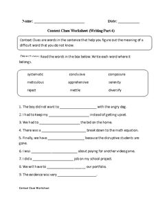 Context Clues Worksheets Writing Part 4 Advanced