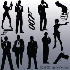 12 James Bond Silhouette Images Digital Clipart Images