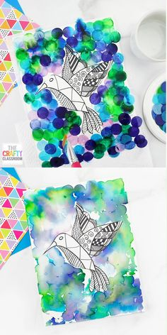 Hummingbird Art Project for Kids Art Projects For Adults, Toddler Art Projects, Paper Art Projects, Summer Art Projects, Classroom Art Projects, Art Classroom, Class Art Projects, Art For Kids, Crafts For Kids