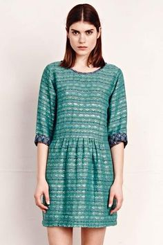 Anna Dress in Ace & Jig's rumpled supersoft doublegauze Kensington fabric layered over Carnaby. Can be worn either with high or low scoop neck in front or back. Ace & Jig fabrics are woven by artisans in India on ancient hand looms.