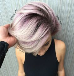 Unique short hairstyle colors for your hair Hair color is as important as your hair and if you want to achieve a new stylish look for your hair, you should Love Hair, Great Hair, Gorgeous Hair, Amazing Hair, Metallic Hair Color, Purple Hair, Violet Hair, Purple Gray, Silver Lavender Hair