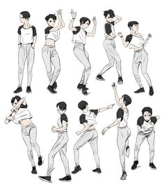 Pin by character design references on character pose dancing Character Design Cartoon, Character Design References, Character Art, Anime Poses Reference, Figure Drawing Reference, Sketch Poses, Drawing Poses, Drawing Hair, Drawing Clothes