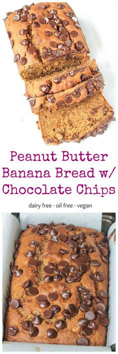 Peanut Butter Banana Bread w/ Chocolate Chips - a healthy quick bread your whole family will love! This egg free bread rises just like traditional bread. No one will guess it's vegan!