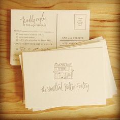 RSVP postcard with simple drawing of the super cute wedding venue... #letterpress #postcard #rsvp #handwriting #handlettering #wedding #invitation