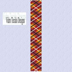 Red and Orange Plaid Peyote Pattern