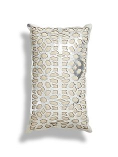 Chaunce Laser Cut Leather Pillow by THRO by Marlo Lorenz at Gilt