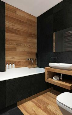 idee salle de bain bois et céramique, vasque en céramique blanche, mur noir