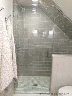 Slanted Ceiling Taupe Subway Tile Halfwall Gl Door Amandardesign