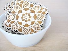 Wooden doily coasters