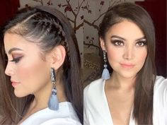 "Képtalálat a következőre: ""peinados con trenzas y pelo suelto rizado paso a paso"" Down Hairstyles, Trendy Hairstyles, Straight Hairstyles, Girl Hairstyles, Braided Hairstyles, Wedding Hairstyles, Pinterest Design, Braid Styles, Hair Dos"