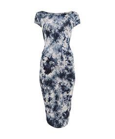 Petrol blue (Blue) Cameo Rose Blue Tie Dye Cap Sleeve Midi Dress | 279204447 | New Look