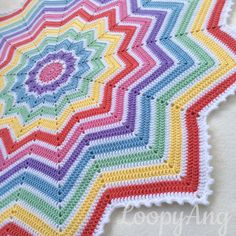 Crochet Rainbow Baby Blanket 12 Pointed Star by LoopyAngCrochet