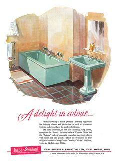The Vintage Bathroom Vintage Advertisements, Vintage Ads, Vintage Prints, Vintage Decor, Vintage Bathrooms, 1950s Bathroom, Retro Room, Bathroom Images, Mid Century House