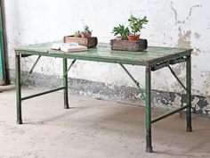 View our Vintage Folding Table - Green from the collection Coffee Table Height, Low Coffee Table, Pine Dining Table, Patio Table, Vintage Table, Vintage Kitchen, Vintage Metal, Traditional Dining Room Sets, Metal Folding Table