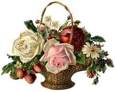 Vintage Rose Basket Scrap ~ LÁMINAS VINTAGE, ANTIGUAS, RETRO Y POR EL ESTILO.... (pág. 599)