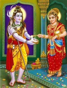 Annapurna Giving Alms to Lord Shiva (Reprint on Paper - Unframed)