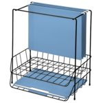 """Fellowes® Wire Double Tray with Hanging File with organizes hanging files and documents on the desktop. Combination features hanging file holder plus two side load letter trays. File holder stores 6 ½"""" of hanging files. Product is 100% recyclable."""
