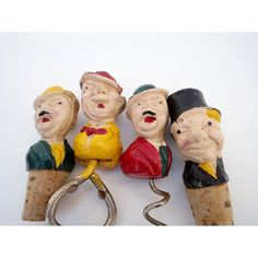 A Collection of Vintage Composite Barware Tools - 1940 Set of 4 Drunk Men -    From Just Smashing Darling on Etsy