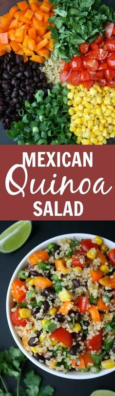 Mexican Quinoa Salad with cumin-lime dressing! So healthy, fresh, and great for packed lunches too! (vegan, gluten-free)