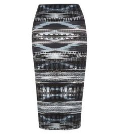 Black Aztec Midi Skirt