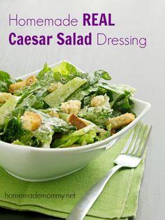 Homemade Caesar salad dressing with real food ingredients