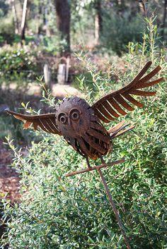 Owl metal garden art