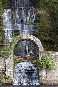 Decorative Rocks Ideas : mysticjones: ornate waterfall at corby castle by George Milligan // Beautiful Waterfalls, Beautiful Landscapes, Beautiful Gardens, Les Cascades, Rock Decor, Fantasy Landscape, Beautiful Places To Visit, Water Garden, Water Features