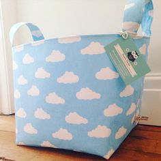 Clouds Fabric Basket - Nappy Basket, Diaper Caddy, Nursery Storage, Playroom, Toy Storage, Nursery Decor - Monochrome, Black White or Blue