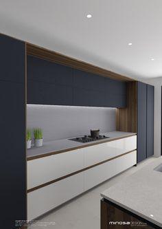 E quem disse que não se pode ousar em uma cozinha? Minosa Design: Striking Kitchen Design with rich wood & Copper